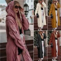 Womens Long Knitted Cardigan Open Front Chunky Hooded Sweater Coat Winter UK