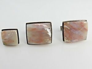 Vintage Agate Modernist Cufflink and Tie Pin Set Sterling Silver