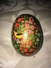 Two Decorative Eggs Green Marble Gilt Detail and Kashmir Lacquered Bird & Flora