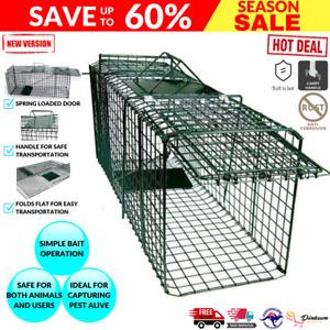 Small Humane Animal Pest Possum Cat Trap live CATCHER FOLDING CAGE RABBIT HARE