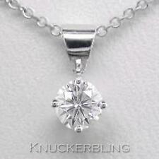 0.20ct F SI Exc Round Brilliant Cut Diamond & 18ct White Gold Pendant with Chain