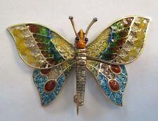 """Vintage 14K Gold Butterfly Brooch  """"Moving Wings""""  Beautiful Enamel   58X38 MM"""