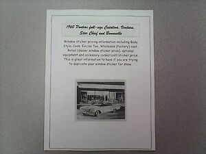 1960 Pontiac full-size factory cost/dealer sticker prices for car & options $