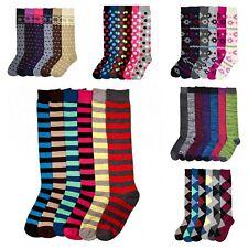 6~12 Pairs Women's Socks Knee High Winter Boot Stripe Dot Argyle Black Size 9-11