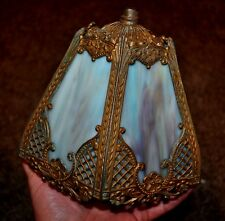 "Antique BLUE & RAINBOW slag glass  LAMP SHADE 7 "" x 7 ""  -  VERY OLD , vintage"