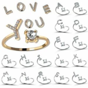 Adjustable Open Initial A-Z Letters Ring Fashion Zircon Ring Women Jewelry Gift