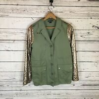 Double Zero Green Military Jacket Rose Gold Sequin Sleeves Size Large