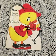 Vintage Greeting Card Valentine Duck Archery Bow Arrow