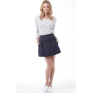 Superdry Womens Judy Tweed Mini Skirt Navy Herringbone, XXS UK 6, BNWT