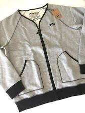 Spenglish Gray Zip Front Fleece Cardigan Mustache Sweatshirt Movember Size L