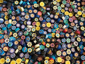 NEW 100 pieces Beads Polymer Clay 13 mm Assorted Sun Smiley Face Flowers