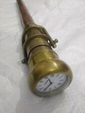 Vintage Brass Telescope with Clock Handle Wooden Walking Stick Cane replica