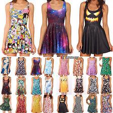 Women Ladies 3D Graphic Printed Cartoon Skater Dress Sleeveless Sundress Skirt