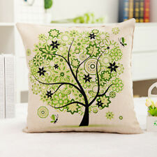 1x Vintage Cushion Case Composite Linen Scatter Cushion Cover Green Tree 42x42cm
