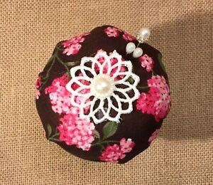 Sewing Pin Cushion Silver-Cup Repurposed & Upcycled into Pin Cushion ~ Handmade