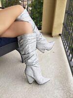 Silver Knee High Cone Heel Pointy Toe Slouchy Rhinestone Crystal Slip On Boots