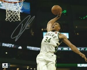 "Giannis Antetokounmpo signed 8"" x 10"" Photo COA MVP NBA autographed Bucks Greek"