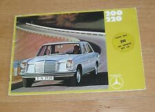 Mercedes Benz W114 Saloon Brochure 1970 - 200 & 220 - UK Market
