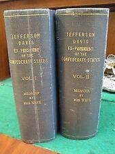 JEFFERSON DAVIS 1890 HC/1st Ed. Varina Davis Civil War Illustrated Complete Set!