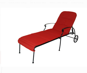Outdoor/Indoor Chaise Lounge With Wheels Steel Frame Patio Garden Seat Furniture