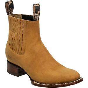 Men's Potro Rebelde Genuine Suede Leather Charro Square Toe Handcrafted Boots