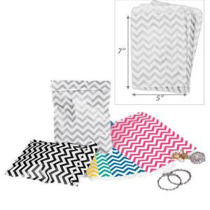 100pc Gift Bags Jewelry Flat Gift Bags Store Bag Chevron Printed Merchandise Bag