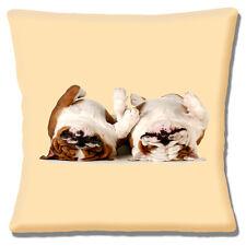 """Due nuove inglese Bulldogs - """"il tempo per un PELO-SLEEPING 16"""" Cuscino Coprire"""