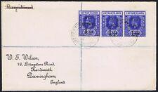 Cayman Islands 1917 strip of three 1 1/2d on 2 1/2d War Stamp to Birmingham