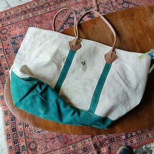 "vtg LL BEAN boat and tote canvas bag green leather approx. 22"" x 16"" x 10"""