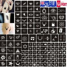 129Pcs Reusable Temporary Glitter Tattoo Stencils Template Body Art Airbrush Kit