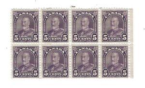 Canada 1930 Arch 5c violet   #169 Block of 8  MNH  Fine-Very Fine  $112