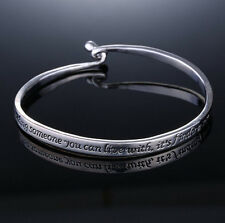 Love Couple women men Jewelry Silver plated Letter Engraved Bangle Bracelet new