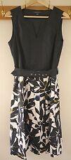 Banana Republic Vintage 50s Style Black Floral Cotton V-Neck Sheath Belt Dress 8