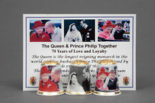 Queen & Prince Philip Together 70yrs Platinum Box Set of 3 Thimbles+Card B/155