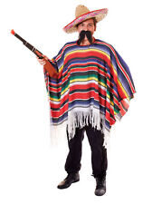 Adults Mexican Poncho Costume Hispanic Wild West Cowboy Bandit Fancy Dress Outfi