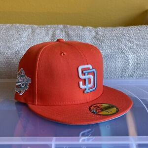 Hat Club Exclusive Frozen Tangerine 7 1/4 San Diego Padres Fitted(Icy Blue Brim)