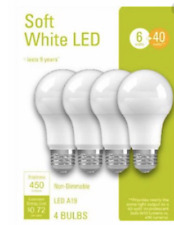 4 Pack Soft White LED Bulbs 6 Watt 40 Watt Replacement A19 Non-Dimmable