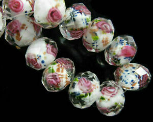 20pcs Rondelle Faceted Glass Rose Flower Inside Lampwork Beads Spacer Charms DIY
