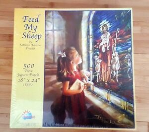 """Feed My Sheep, 500 Piece Jigsaw Puzzle, 18"""" X 24"""", Kathryn Fincher, Sunsout, New"""