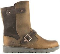 Junior Girls Womens Timberland Kidder Side Zip Brown Leather Ankle Boots Shoes