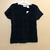 Worthington Stretch Top Blouse Black Women's Size Large Short Sleeve Casual