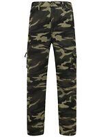 Mens Camo Combat Trousers Work Utility Cotton Blend Pockets Elasticated Waist