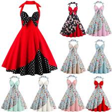 AU Womens Vintage Halter 1950s 60s Rockabilly Evening Prom Swing Dress Plus Size