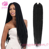 "18"" Black Senegalese 3X BOX Braid Hair Twist Crochet Synthetic Hair Extensions"