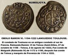 LANGUEDOC. CONDADO DE TOULOUSE. RAMON VI 1194-1222. OBOLO VELLÓN. Peso 0,44 gr.