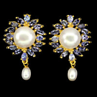 Unheated Marquise Blue Tanzanite 5x2.5mm Pearl 925 Sterling Silver Earrings