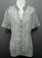 Banana Republic Women's Size M Gray White Short Sleeve Button Down Shirt Top