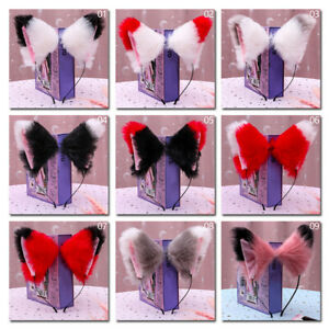 Costume Cat Fox Ears Headband  Fur Anime Cosplay Hair Clip Party Party Halloween