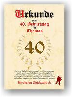 Urkunde zum 40. Geburtstag Geschenkidee Geburtstagsurkunde Namensdruck Partydeko