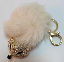 Rhinestone Bling Cute Key Chain Fob Phone Purse Charm Foxy Fox White Puff